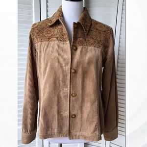EUC Cold Water Creek corduroy Tapestry Coat Sz S